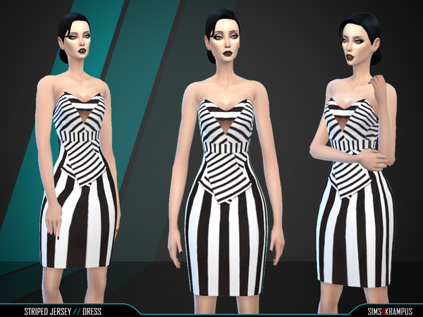 Sims 4 Striped Jersey Dress by SIms4Krampus at TSR