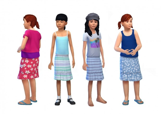 Sims 4 Knee Length Summer Skirts by plasticbox at Mod The Sims