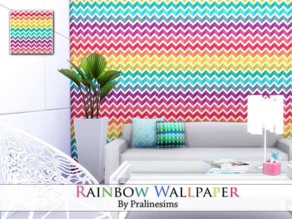 Rainbow Wallpaper by Pralinesims at TSR image 3513 Sims 4 Updates