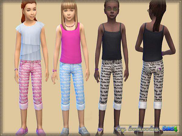 Sims 4 Printed pants and top for girls by bukovka at TSR