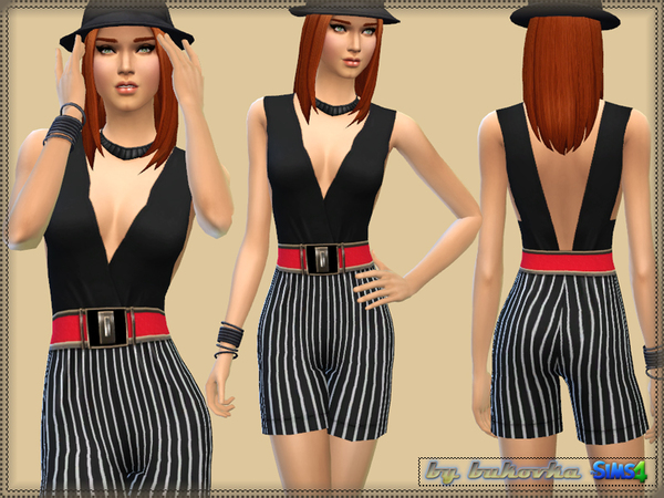 Sims 4 Stripe Jumpsuit by bukovka at TSR