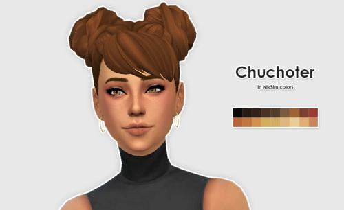 Sims 4 WildlyMiniatureSandwich Chuchoter Hair in NikSim Colors at ELLESMEA