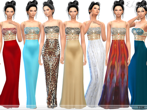 Sims 4 Exotic Jeweled Bodice Evening Gown by ekinege at TSR