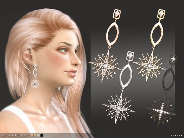 Starburst Earrings by toksik at TSR image 475 Sims 4 Updates