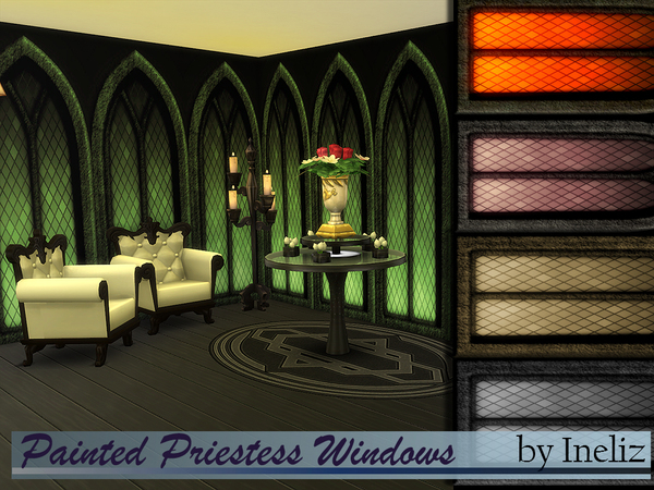 Sims 4 Painted Priestess Windows by Ineliz at TSR