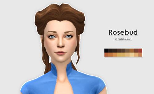 Sims 4 Delco Webney Rosebud Hair in NikSim Colors at ELLESMEA