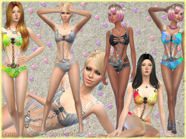 Sims 4 Summer Tropical Colors Swimsuit by alin2 at TSR