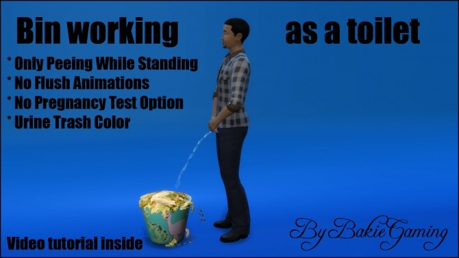 Sims 4 Bin working as a toilet (Tutorial item) by Bakie at Mod The Sims