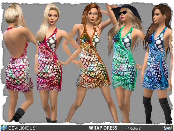 Sims 4 Wrap Dress by Devilicious at TSR