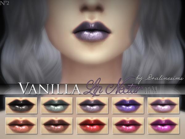 Sims 4 Vanilla Lip Nectar 10 Dark Colors by Pralinesims at TSR