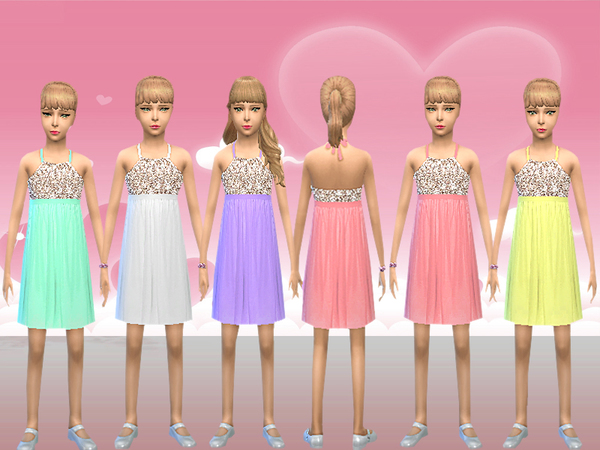 Sims 4 Girl Sequin Detail Party Dress by melisa inci at TSR