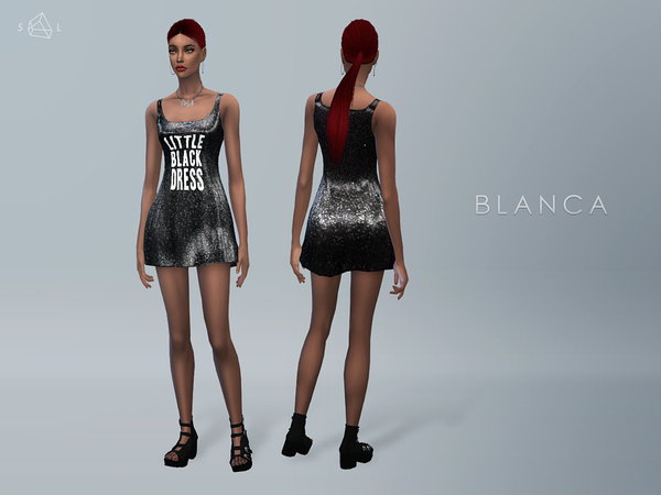 Black Sequined Mini Dress BLANCA by starlord at TSR image 678 Sims 4 Updates