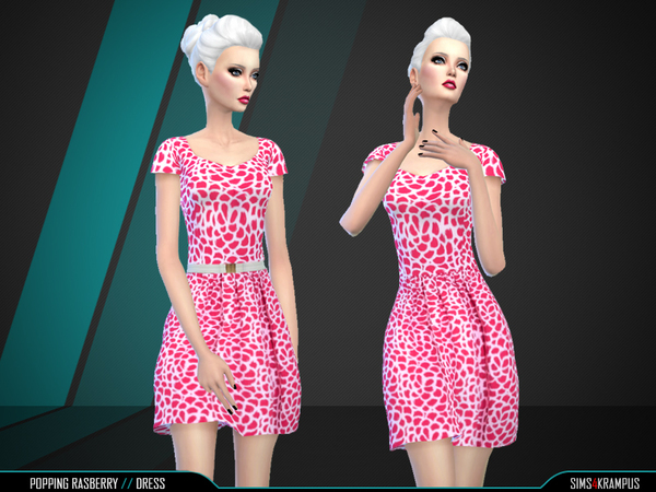 Sims 4 Popping Rasberry Dress by SIms4Krampus at TSR