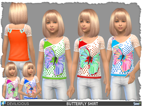 Butterfly Shirt by Devilicious at TSR image 711 Sims 4 Updates