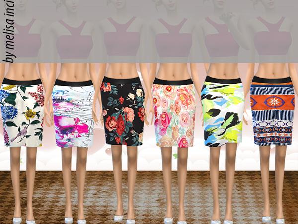 Sims 4 Floral pencil skirt by melisa inci at TSR