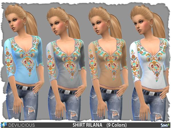 Sims 4 T Shirt Rilana (9 Colors) by Devilicious at TSR