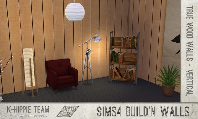 Sims 4 7 vertical Wood Walls volume 1 at K hippie