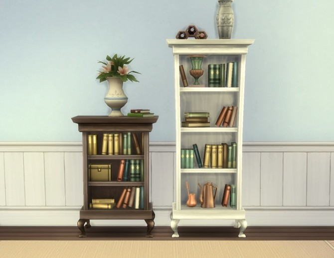 Sims 4 Single Tile Cordelia Bookcases by plasticbox at Mod The Sims
