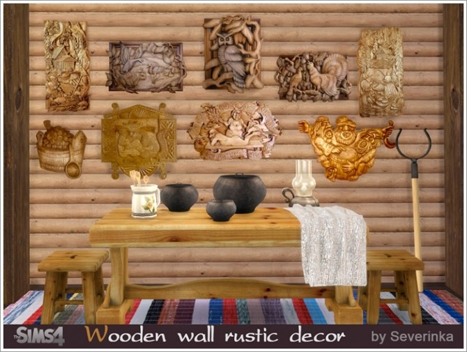 Sims 4 Wooden wall rustic decor at Sims by Severinka