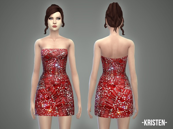 Sims 4 Kristen dress by April at TSR