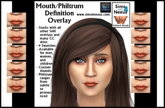 Sims 4 Defined Mouth/Philtrum Overlay at Sims 4 Nexus