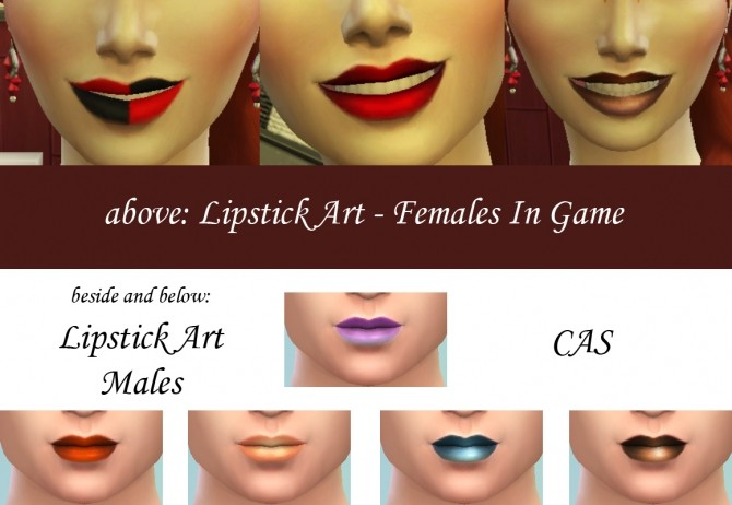 Sims 4 21 Shades of Lipstick Art by Simmiller at Mod The Sims