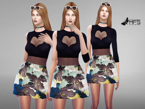 Sims 4 MFS Lavinia Dress by MissFortune at TSR