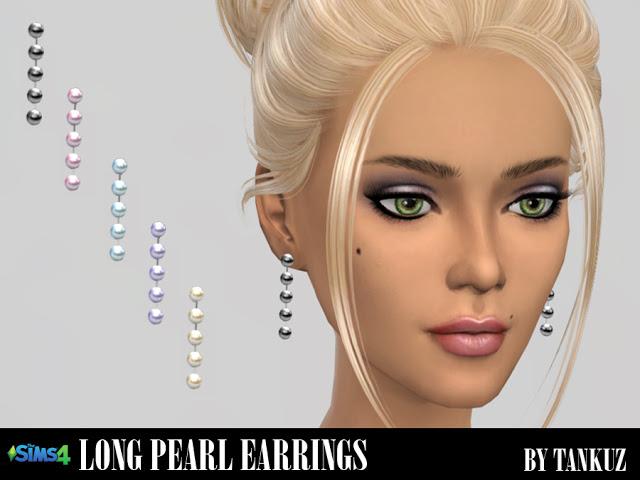 Sims 4 Long pearl earrings at Tankuz Sims4