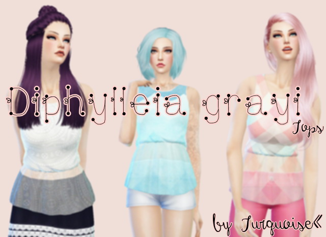 Sims 4 Diphylleia grayi Tops by Turquoise at Sims Fans