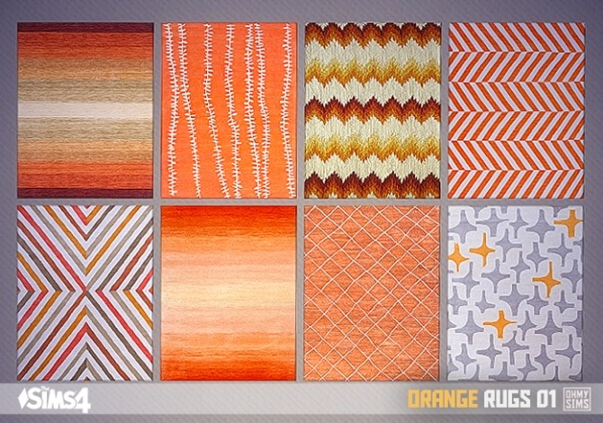 Sims 4 Orange rugs 01 at Oh My Sims 4