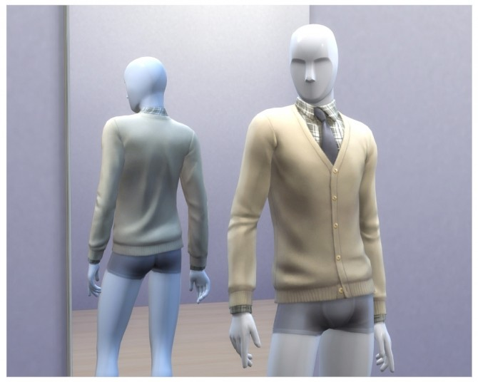 Sims 4 UNLOCKED Male Beige Cardigan by Menaceman44 at Mod The Sims