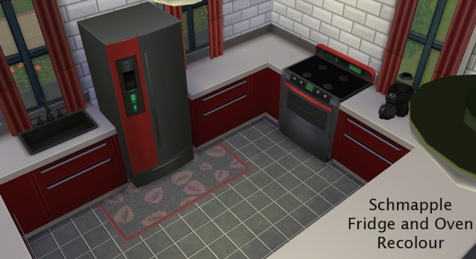 Sims 4 Schmapple Fridge and Oven Recoloured by Simmiller at Mod The Sims
