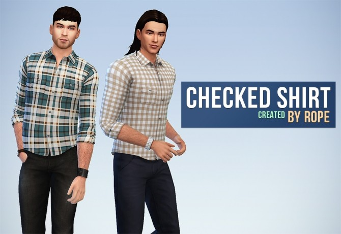 Checked Shirt by Rope at Simsontherope image 1023 670x461 Sims 4 Updates