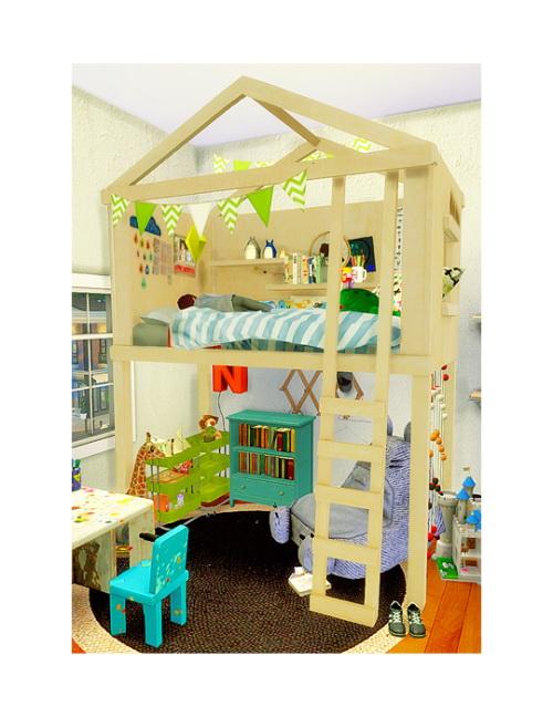 Sims 4 Bed and loft shell at Chisami