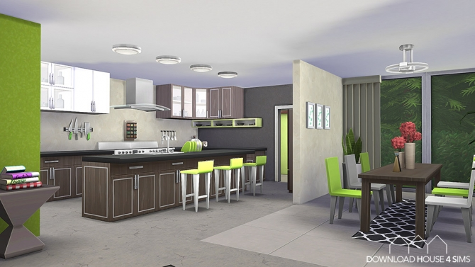 Lime Kitchen Green & Modern at DH4S » Sims 4 Updates
