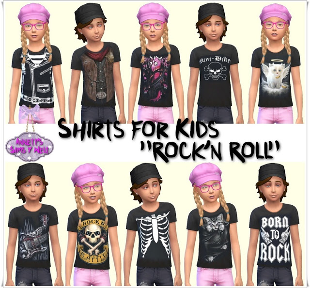 Sims 4 Rockn Roll Shirts for Kids at Annett's Sims 4 Welt