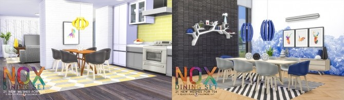 Sims 4 NOX Dining Set by Peacemaker IC at Simsational Designs