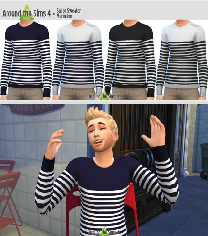 Sims 4 Sailor Sweater by Sandy at Around the Sims 4