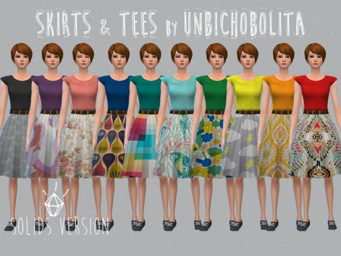 Skirt and tees at Un bichobolita image 10712 670x503 Sims 4 Updates
