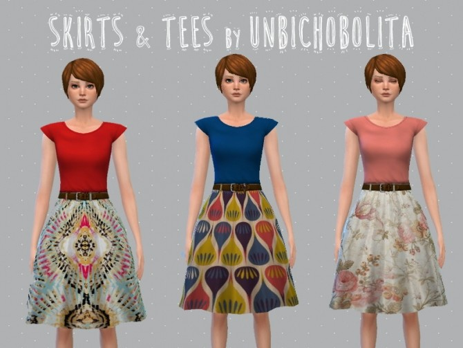 Skirt and tees at Un bichobolita image 10814 670x503 Sims 4 Updates