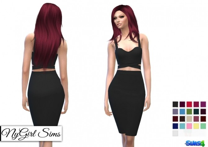 Sims 4 Crossed Tank Two Piece Pencil Dress at NyGirl Sims