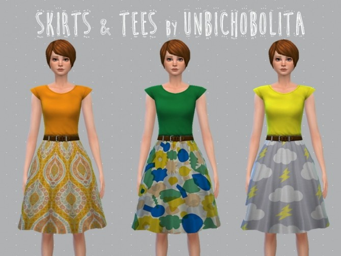 Skirt and tees at Un bichobolita image 10914 670x503 Sims 4 Updates