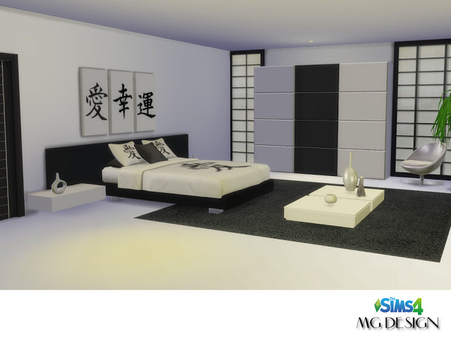 Misako bedroom at mg design sims4 sims 4 updates for Bedroom designs sims 4