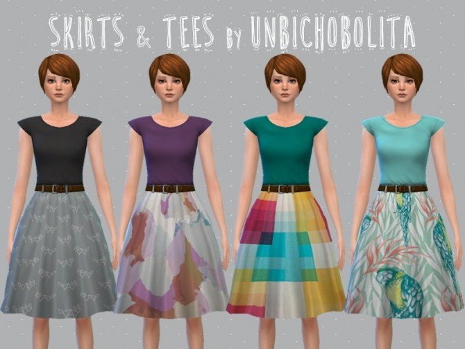 Skirt and tees at Un bichobolita image 11017 670x503 Sims 4 Updates