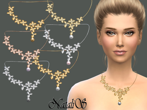 Sims 4 Orchid flowers necklace by NataliS at TSR