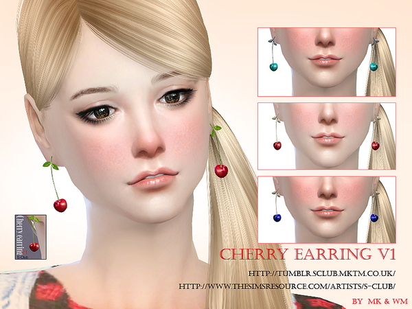 Cherry earring by S Club MW at TSR image 11127 Sims 4 Updates