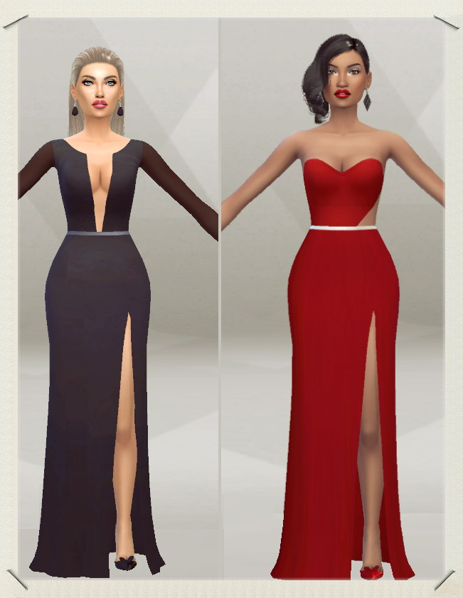 Sims 4 Long Dress with Slit at Sims Fashion01