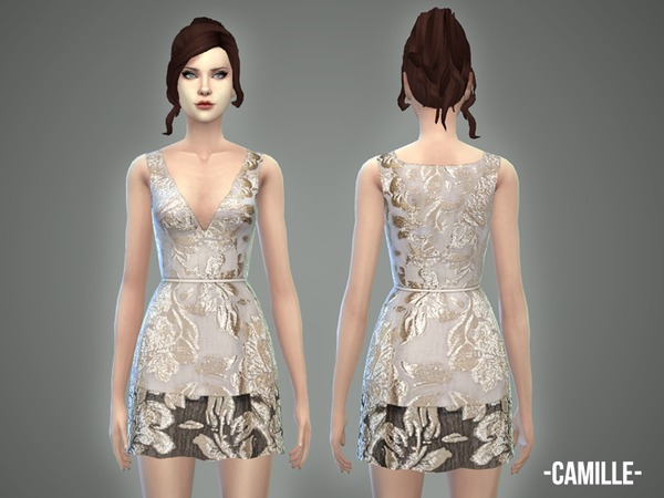 Sims 4 Camille dress by April at TSR