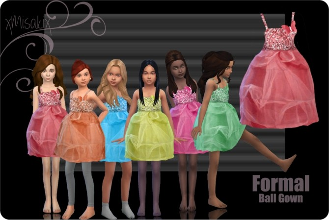 Sims 4 Ball gown for kids at xMisakix Sims