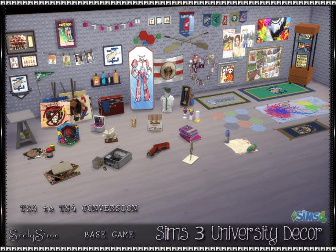 Sims 3 University Decor Conversions At Srslysims Sims 4